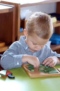 Little boy completing wooden puzzle at a desk